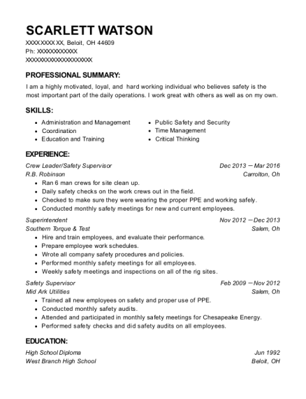Crew Leader resume sample Ohio