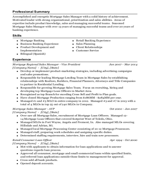 Mortgage Regional Sales Manager Vice President resume example Ohio
