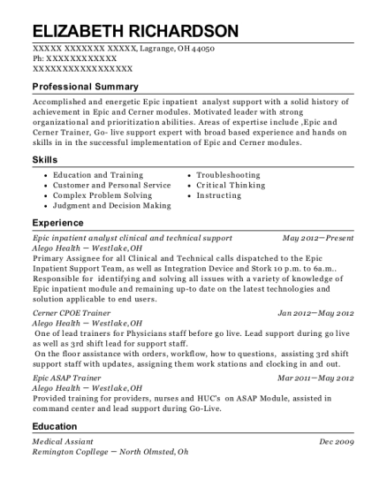 Epic inpatient analyst clinical and technical support resume template Ohio