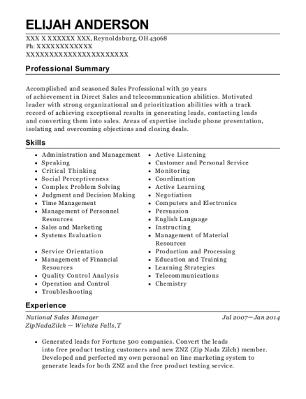 National Sales Manager resume format Ohio