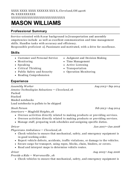 Assembly Worker resume sample Ohio