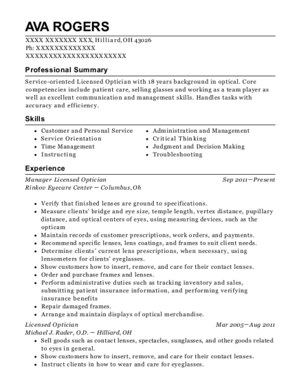 Manager Licensed Optician resume example Ohio