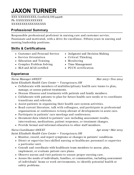 Nurse Manager 6WEXT resume template Ohio
