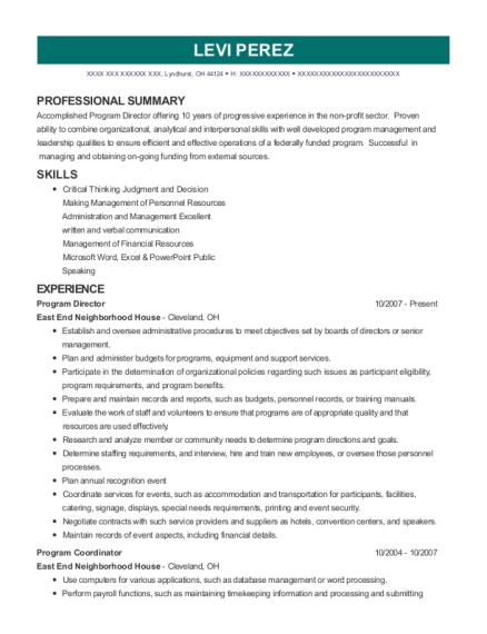 Program Director resume format Ohio