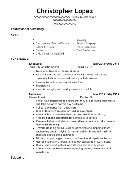 Lifeguard resume sample Ohio