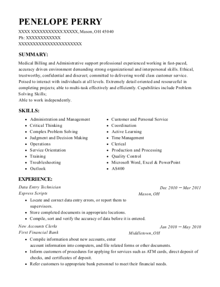 Data Entry Technician resume template Ohio