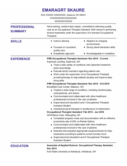 Occupational Therapist Assistant resume template Ohio