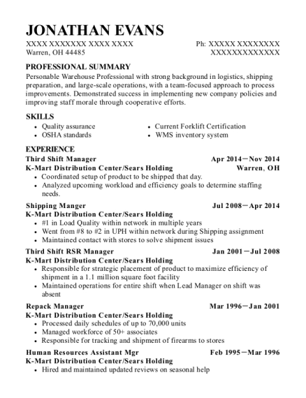 Third Shift Manager resume template Ohio