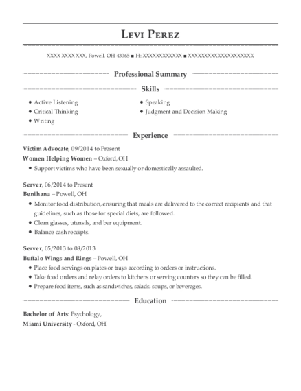 Victim Advocate resume format Ohio
