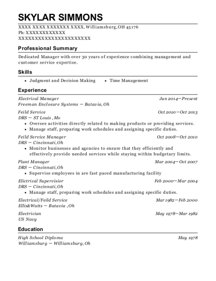 Electrical Manager resume sample Ohio