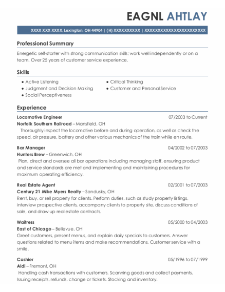 Locomotive Engineer resume example Ohio