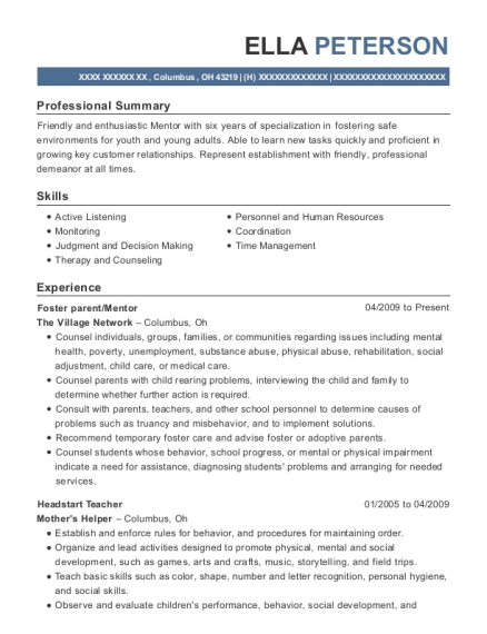 Foster parent resume example Ohio