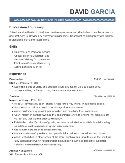 Production resume sample Ohio