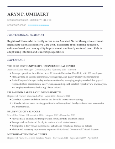 Assistant Nurse Manager resume template Ohio