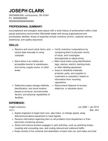 freight conductor resume example Ohio