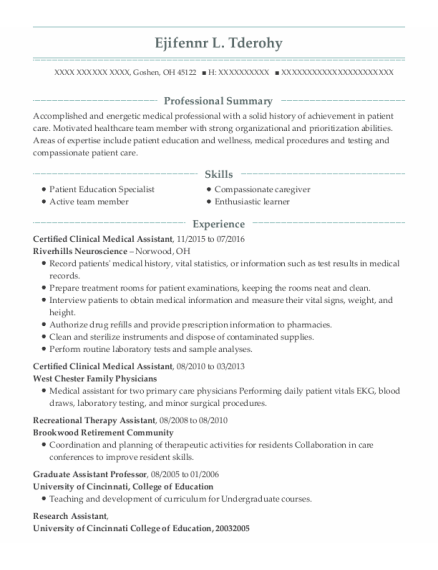 Certified Clinical Medical Assistant resume format Ohio
