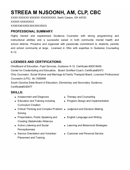 Licensed Professional Counselor resume format Ohio