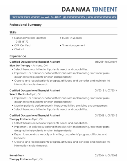 Certified Occupational Therapist Assistant resume sample Ohio