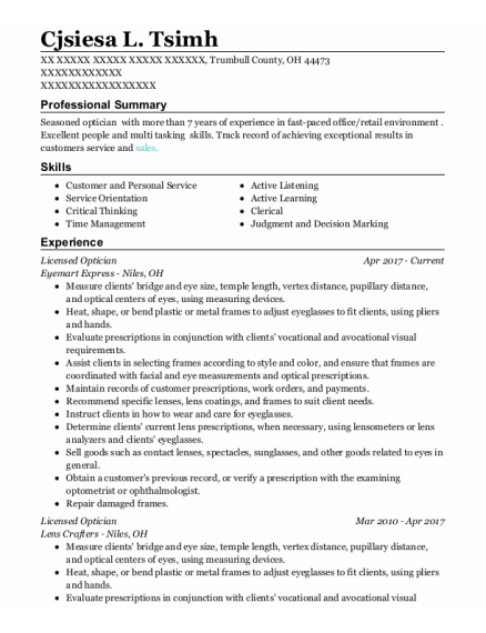 Licensed Optician resume template Ohio