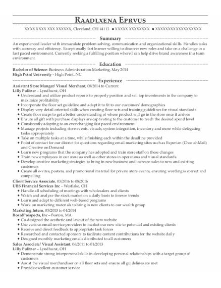 Assistant Store Manger resume format Ohio