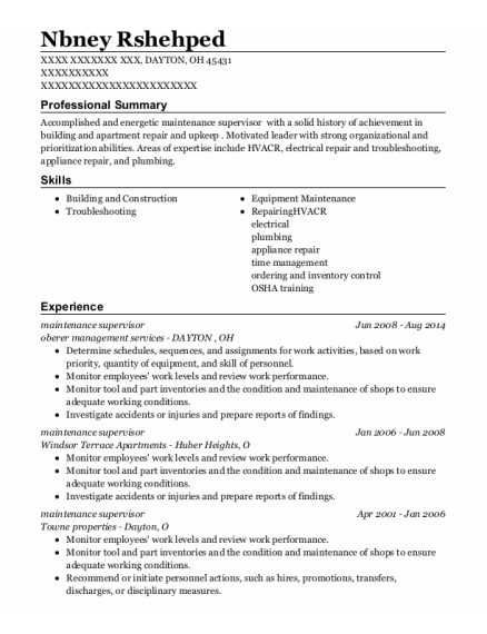 Maintenance Supervisor resume example Ohio