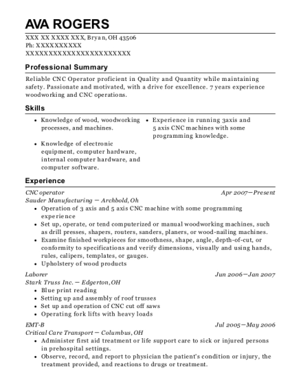 CNC operator resume example Ohio