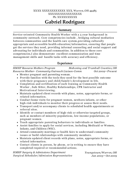 Resource Mother Community Outreach Liaison Comm resume format Ohio