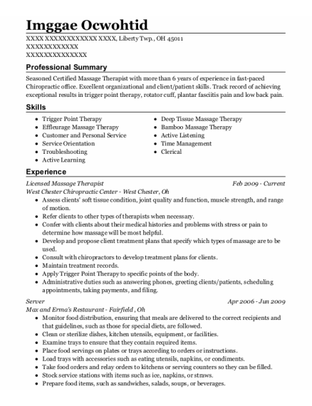 Mobile Massage By Monica Licensed Therapist Resume Sample