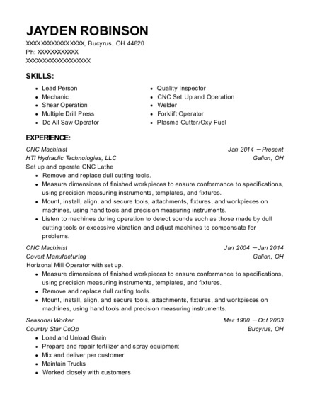 CNC Machinist resume example Ohio