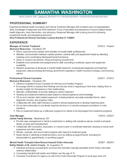 Manager of Clinical Treatment resume sample Ohio