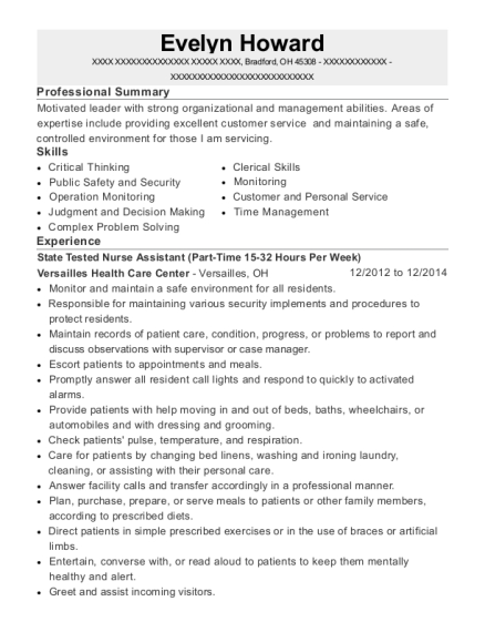 State Tested Nurse Assistant resume example Ohio
