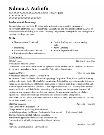 RN staff nurse resume example Ohio