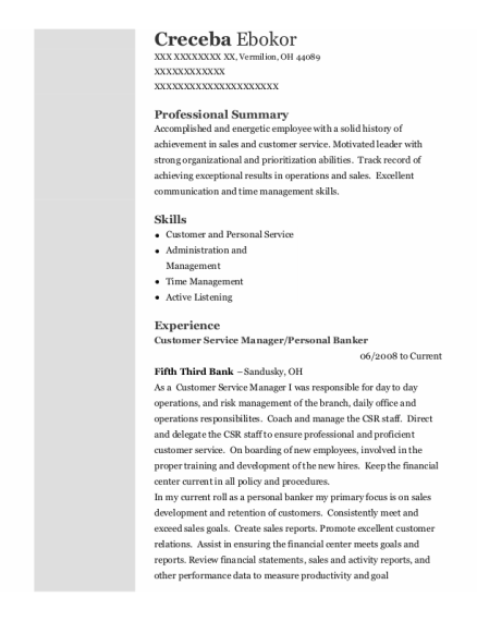 Customer Service Manager resume template Ohio