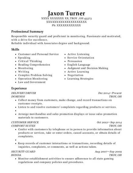 DELIVERY DRIVER resume template Ohio