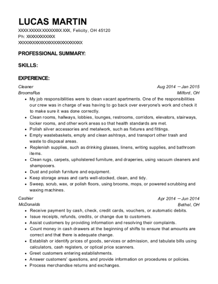Cleaner resume template Ohio