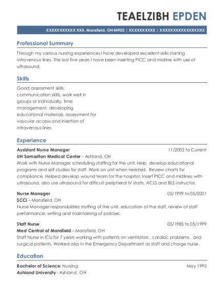 Assistant Nurse Manager resume example Ohio