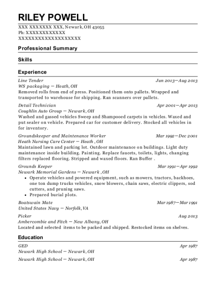 Line Tender resume sample Ohio