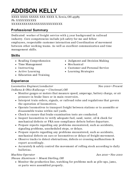 Locomotive Engineer resume sample Ohio