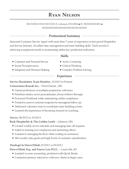 Service Resolution Team Member resume template Ohio