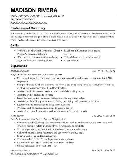 Staff Accountant resume template Ohio