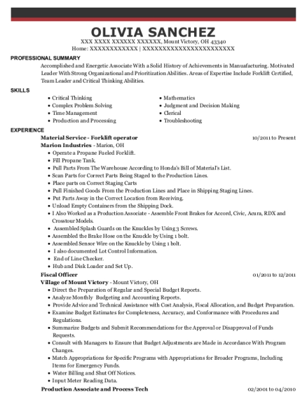Material Service Forklift operator resume template Ohio