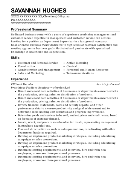 CEO and Founder resume format Ohio
