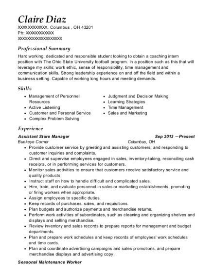 Assistant Store Manager resume example Ohio