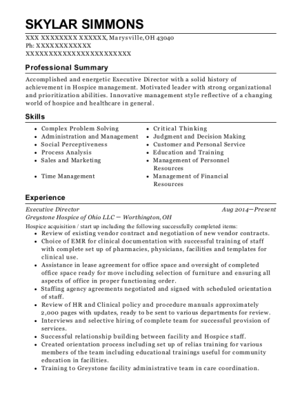 Executive Director resume format Ohio