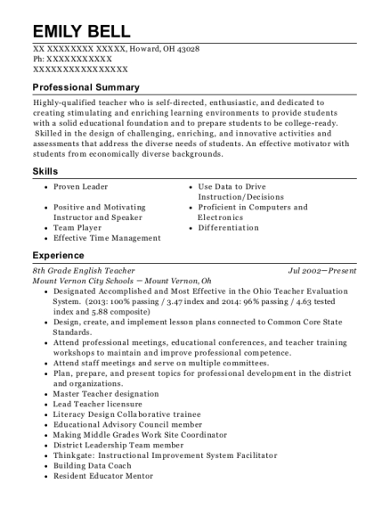 8th Grade English Teacher resume format Ohio