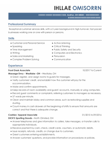 Front Desk Associate resume sample Ohio