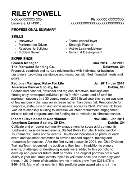 Branch Manager resume sample Ohio