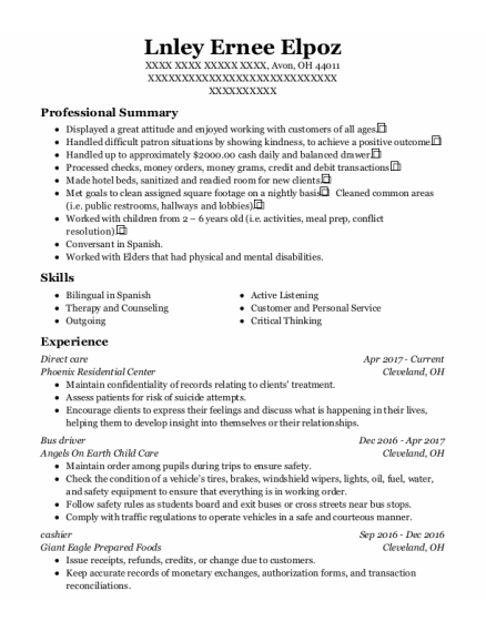 Direct Care resume example Ohio