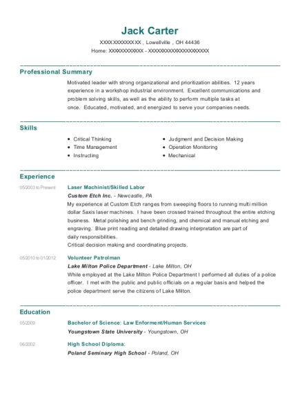 Laser Machinist resume sample Ohio