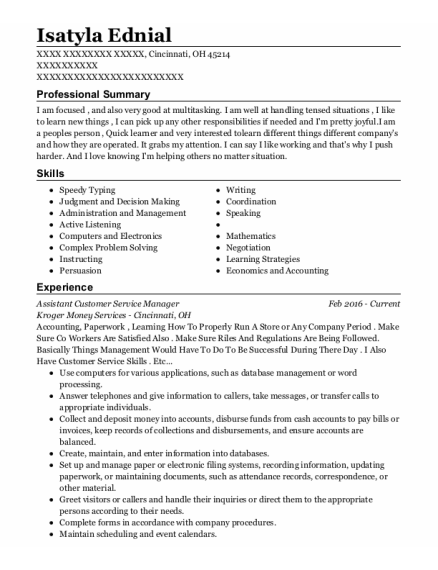 Assistant Customer Service Manager resume sample Ohio